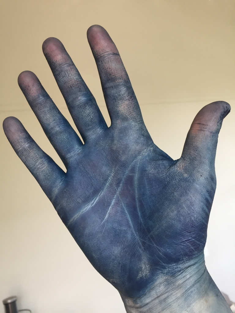 Image of Colleen's hand which is dyes blue from the indigo dye process, against a white background